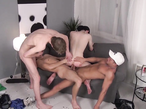 Gay foursome impersonates double barebacking