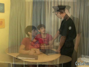 Policeman pays a visit to a gay criminal for oral