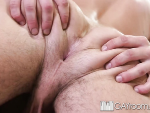 Two gay boyfriends are pleasing third twink with hot dick suck