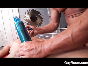 Sexy tattoos on young twink's back hotly excited strong masseur