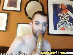 Nasty hunk is fucking ass in doggy pose with dildo sex toy