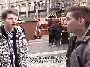 Twink with camera walks on street and hooks two guys