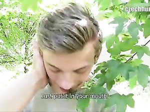 Sissy teen guy agrees to blowjob dick in the bushes
